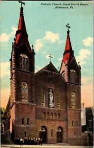 1911-ALLENTOWN-PA-CATHOLIC-CHURCH-NORTH-4TH-ST-POSTCARD-T23