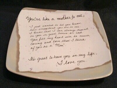 """Decorative Collectibles Stand Products Hot Sale Life's Letters By Carson 6.5"""" Ceramic Plate """"you're Like A Mother To Me"""""""