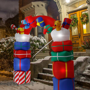 8FT-Airblown-Inflatable-Christmas-Xmas-Santa-Arch-Lighted-Archway-Outdoor-Decor