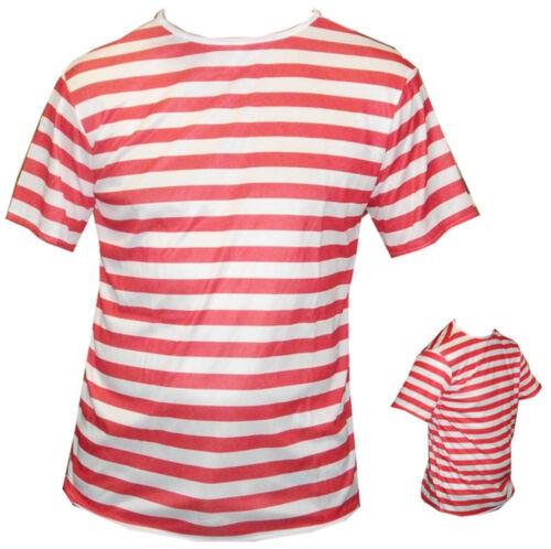Rosso Bianco a Righe Da Uomo T Shirt Top Hat Bicchieri Fancydress Festival Addio al Celibato Nubilato Wally