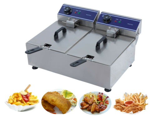 Protelex Gastronomie Imbiss Elekto Friteuse Fritteuse Fritöse 10L*2 und 3000W*2  o2MGv