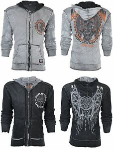 AFFLICTION-Men-Hoodie-Sweat-Shirt-ZIP-UP-Jacket-REVERSIBLE-Stampede-MMA-UFC-98