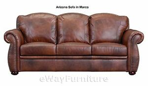 Details About Arizona Brown Top Grain Leather Sofa Hardwood Frame Top  Quality Online Furniture