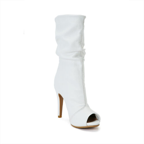 stivaletti Womens Stivaletti Peep bianca tinta alto Fashion in con tacco Toes unita pelle solida Zaa0Trqw1