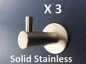 3-X-ROBE-TOWEL-HOOK-RING-RAIL-304-GRADE-SOLID-STAINLESS-STEEL