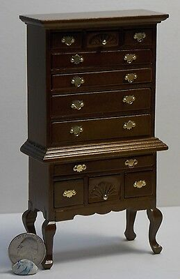 Dollhouse Miniature Walnut Chest of Drawers 1:12 inch scale H26 Dollys Gallery