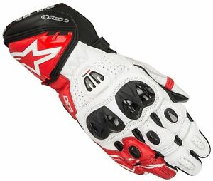 Image is loading Alpinestars-GP-PRO-R2-White-Red-Glove-Leather-