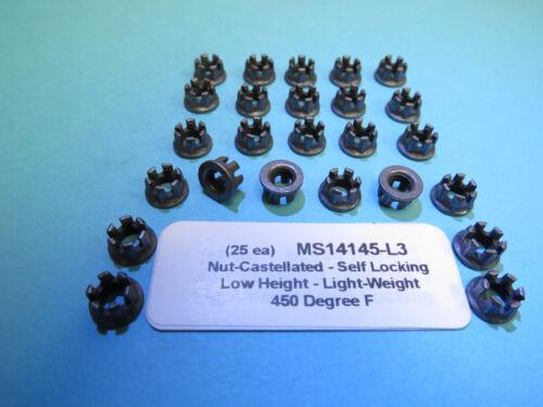 F #10-32 Lightweight Self-Locking MS14145-L3 Nuts Low Height Aircraft 450 Deg