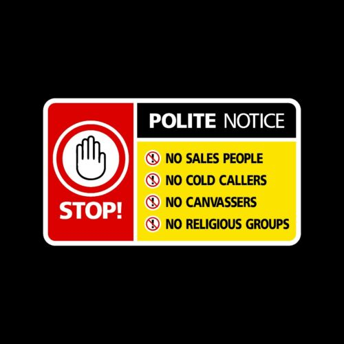 Stop Cold Calling Door Sticker No Canvassers Callers Sign
