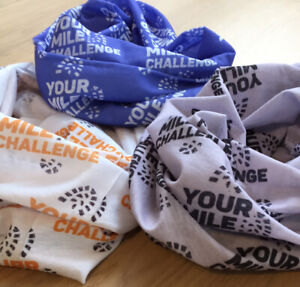 blue headband sweatband running Your Mile Challenge Neck Warmer walking
