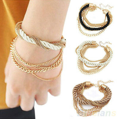 Women New Elegant Handmade Braided Rope Chain Multilayer Bracelet Divine