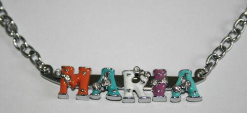 Kette mit Namen Wunschname Symbole silber max bunt 5 Zeichen Strass