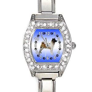 Akita-Dog-CZ-Ladies-Stainless-Steel-Italian-Charms-Bracelet-Wrist-Watch-BJ1015