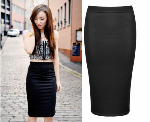 NEW WOMENS PLAIN MIDI PENCIL SKIRT BODYCON STRETCH JERSEY OFFICE SKIRT SIZE wgl
