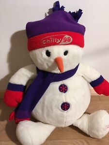 22-Soft-Plush-Christmas-1999-Chilly-Snowman-Hug-Toy-Teddy-In-Hat-amp-Scarf