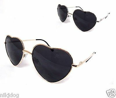 Heart Shaped Sunglasses Gold or Silver Frame Dark Smoked Lenses