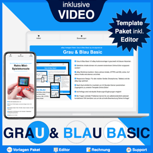 eBay Template Paket: GRAU & BLAU BASIC - 3 Auktionsvorlagen/Designs inkl. EDITOR