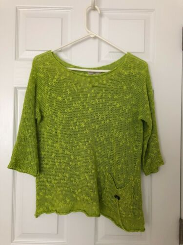 Estefania M Pocket Pullover Green Nwot Rolled Dallas Georgina Trim Lime Maglione pnPP5v