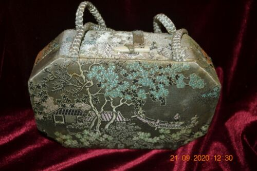 Vintage Oriental Silk Box Purse made in Hong Kong