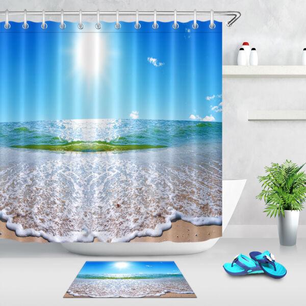 100 Polyester Fabric Summer Sunny Sky Seascape Shower Curtain Bath Mat Hooks