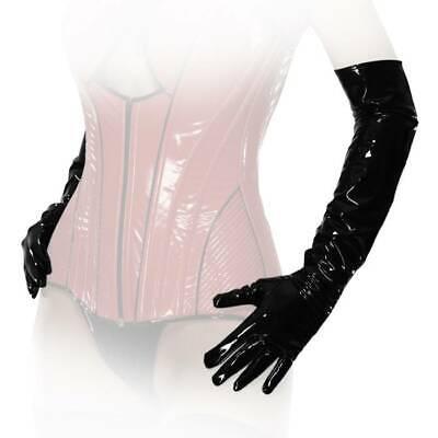 Elegante rote Lack Handschuhe extralang Dessous