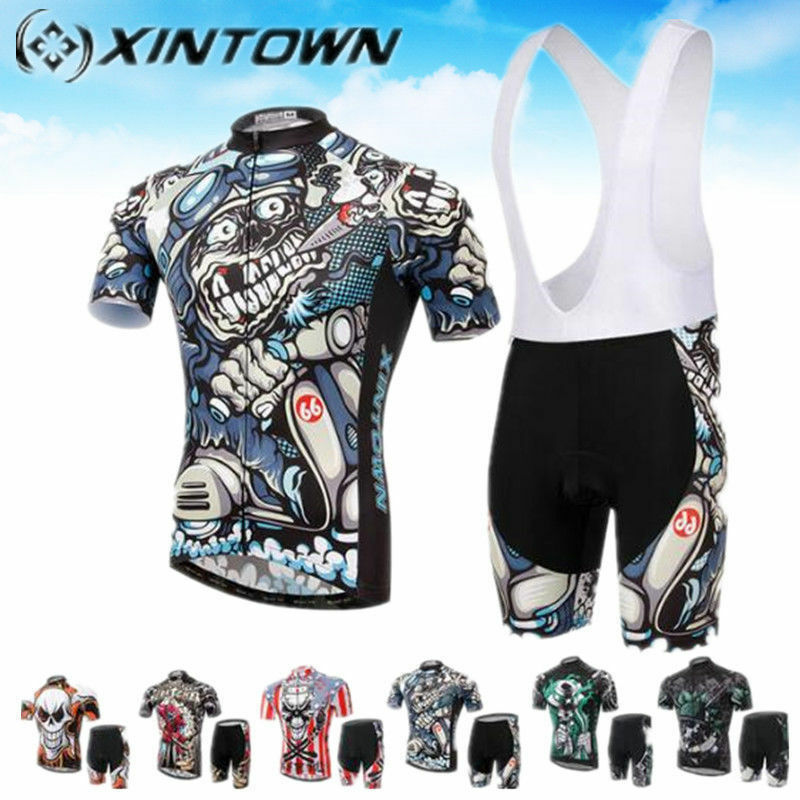 Xintown  Skull Cycling Jersey & Shorts Bicycle Men Authentic Sports Jerseys Sets  online shopping sports