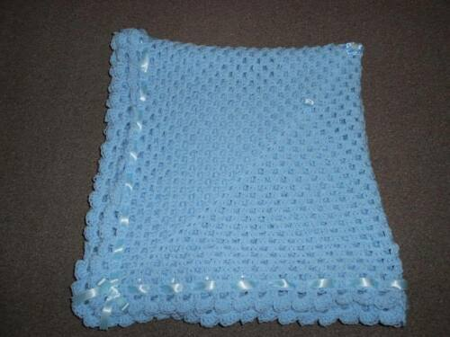 PHOTO PROP BLUE CROCHET BABY BLANKET 40 INCH REBORN SHAWL, NEW BABY