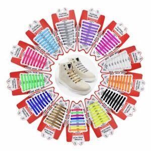 16Pcs Lazy Shoes Laces Unisex tie Shoelace Silicone Elastic Sneaker Multicolor
