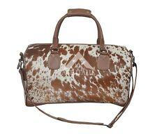 f2bd45675365 HOLDALL Mens Tan Cow Print Fur Large Weekend Duffle Travel Gym 100 % Leather  Bag