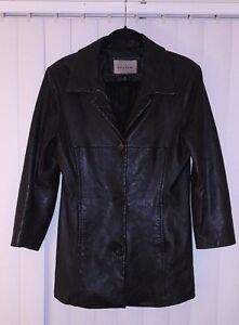 Size boutonné en Jacket Leather noir Blazer taille Black Down cuir Blazer Women Small femme Button Bw0dfqd
