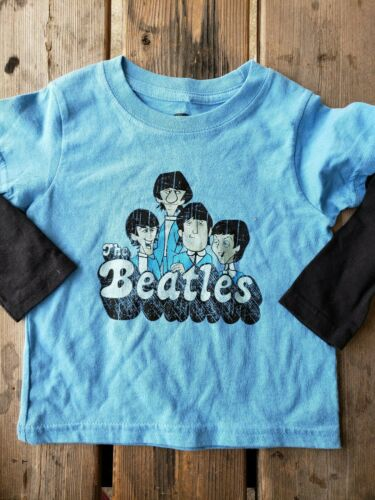 Rare* auth THE BEATLES products Baby SZ 24M Boy Girl BLUE BAND print l//s Shirt