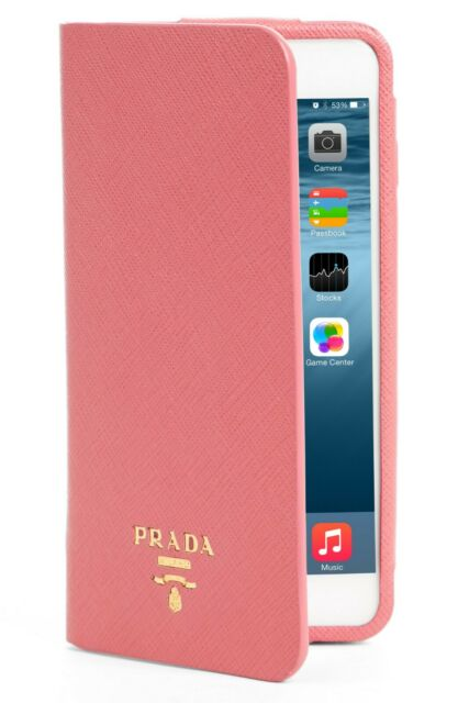 $270 New In Box PRADA Saffiano Metal Oro Book iPhone 7 Plus Wallet PINK