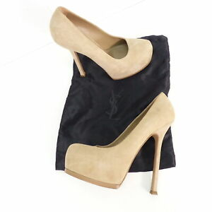 best loved 47cc8 0d66c Details zu YVES SAINT LAURENT Pumps Gr. D 38,5 Beige Damen Schuhe High  Heels Plateau Shoes