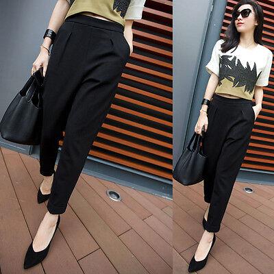 Lady Fashion Polyester Black Ninth Harem Pants Silm Feet Trousers Waist Slacks