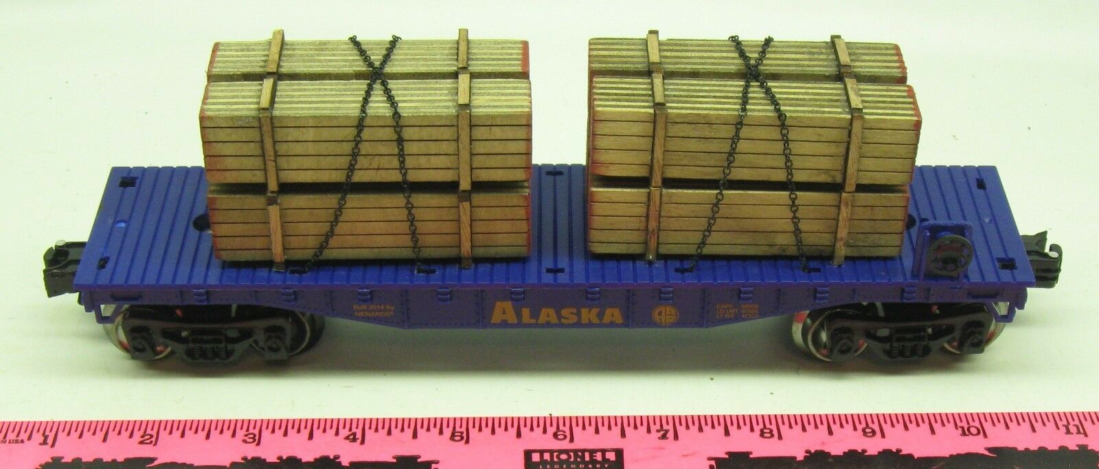 Menards O gauge Alaska Railroad flatcar with lumber load Predotype