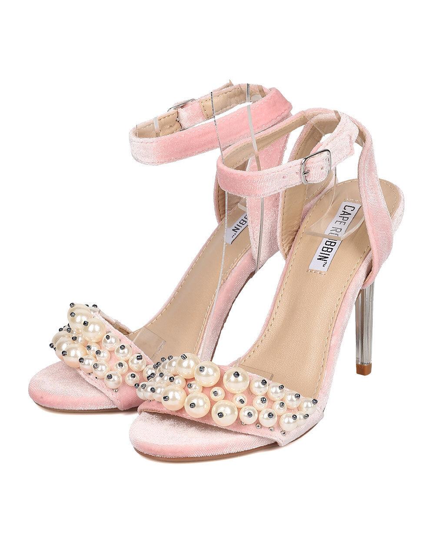 New Women Cape Robbin Craft-2 Velvet Faux Pearl Lucite Stiletto Sandal