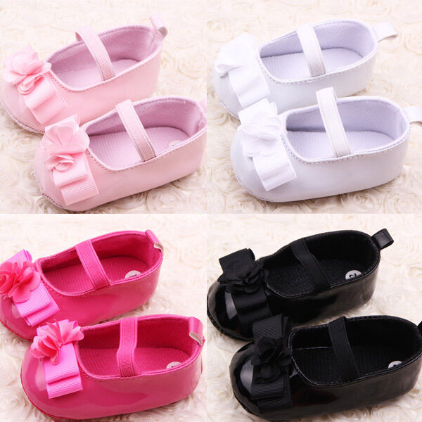 New Infant Girl Ribbon Flower Baby Shoes Toddler Soft Sole PU Leather Crib Shoes