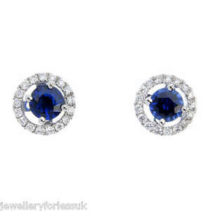 18Carat-White-Gold-Natural-Sapphire-amp-Diamond-Halo-Detchable-Stud-Earrings