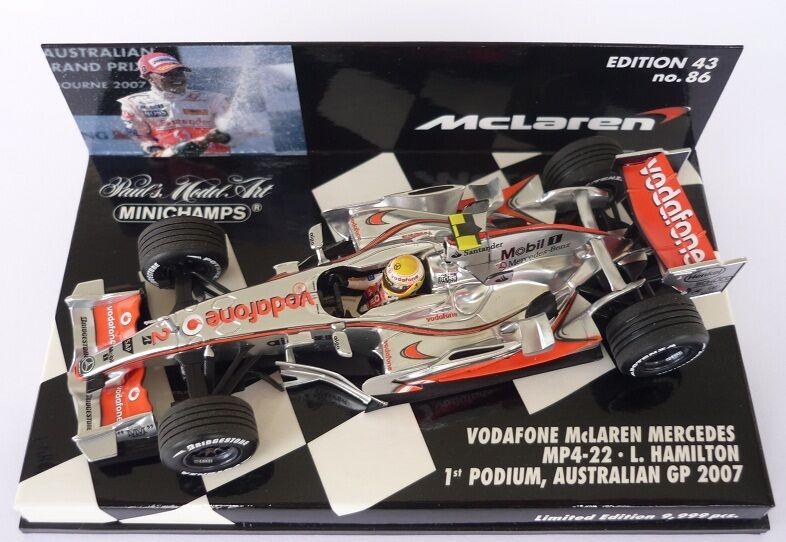 F1 1 43 MCLAREN MP4 22 MERCEDES HAMILTON AUSTRALIAN GP 2007 MINICHAMPS