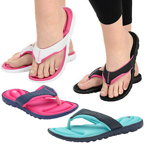 Womens Dunlop Flip Fait Un Four New Ladies Memory Foam Toe Post Slip On Beach Sandals-afficher Le Titre D'origine