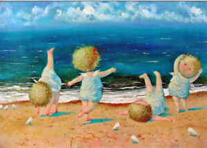 FOUR-CUTEST-ANGELS-EXERCISE-AT-THE-SEA-SHORE-Modern-postcard