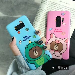 For-Samsung-S10-Note-9-S7-8-Cute-Pink-Bear-Friend-Cartoon-Soft-Tpu-Case-Cover