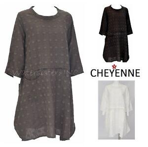 CHEYENNE-LT0859-Textured-Linen-HEXI-DOT-TUNIC-Top-S-M-L-XL-2018-3-Colors