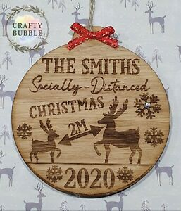 Handmade-personalised-socially-distanced-christmas-2020-bauble-WOODEN-engraved