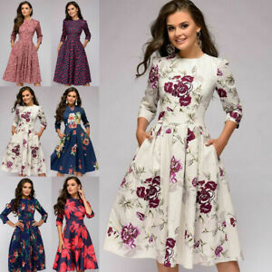 Women-039-s-Retro-Tunic-3-4-Long-Sleeved-Floral-Print-Bodycon-Dresses-Vintage-Dress