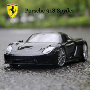 Welly-Diecast-Modelo-Negro-Porsche-918-SPYDER-SUPER-SPORTS-CAR-en-escala-1-24