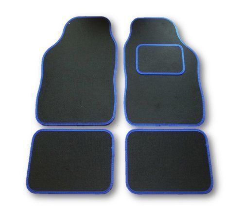 4PCE UNIVERSAL CAR FLOOR MATS BLACK WITH BLUE TRIM FOR CHEVROLET KALOS AVEO MA