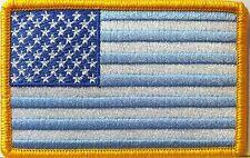 USA Pastel Blue Flag AMERICAN BIKER Custom Iron-On Patch  American  Gold Border