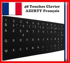 AUTOCOLLANT STICKERS AZERTY POUR CLAVIER PC TOUCHE FRANÇAIS A FOND NOIR