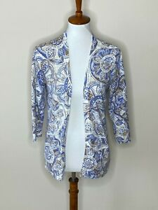 Chico's Size 1 Floral Blue White Beige Cardigan Open Front Sweater 3/4 Sleeve